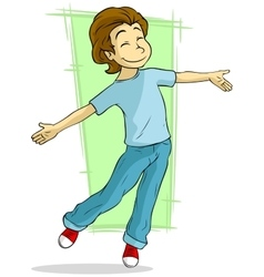 Cartoon dancing young guy vector