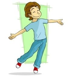 Cartoon dancing young guy vector image vector image