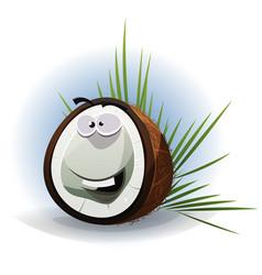 cartoon funny coconut character vector image vector image