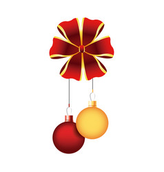 Christmas balls red and golden bow hang decoration vector