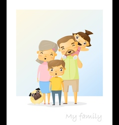 Cute family portrait happy family background 2 vector