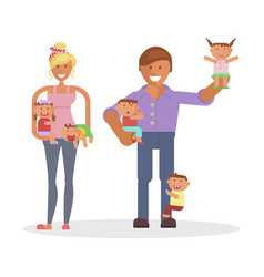 Dad mom and children vector
