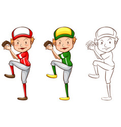Drafting character for baseball player vector