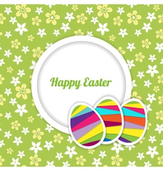 easter card template on the floral background vector image