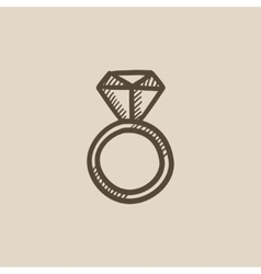 Engagement ring with diamond sketch icon vector image