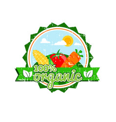 Farm fresh organic food label farm food logotype vector