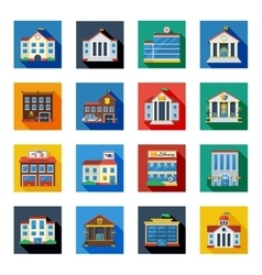 Government buildings icons in colorful squares vector