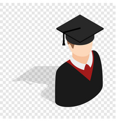 Graduate man in cap and gown isometric icon vector