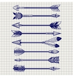 Hand drawn feathery arrows sketch vector