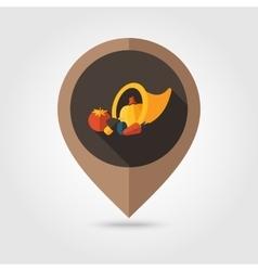 Harvest cornucopia flat mapping pin icon vector image vector image