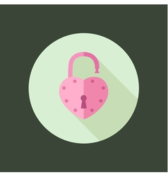 Heart padlock open in circle icon flat design vector