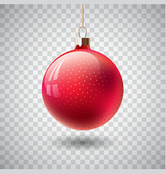 isolated red christmas ball on transparent vector image vector image