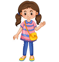 Little girl waving hand vector