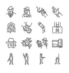 Mafia and gangster line icon set vector