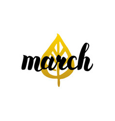 March handwritten lettering vector