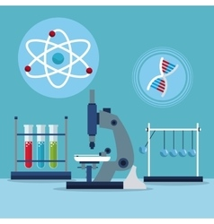 microscope atom dna test tube laboratory vector image