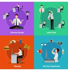 Office syndrome 2x2 design concept vector