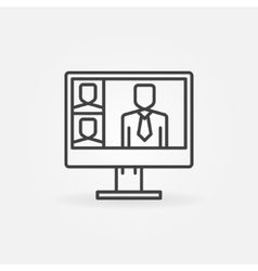 Online video conference line icon vector
