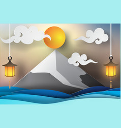 paper art of fuji mountain and sea view lanscape vector image