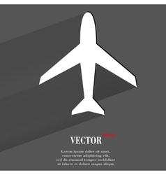 Plane Flat modern web button with long shadow and vector image