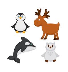 polar animals and fish cartoon icons of vector image