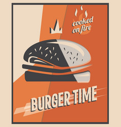 Retro poster with burger with beef meat vector