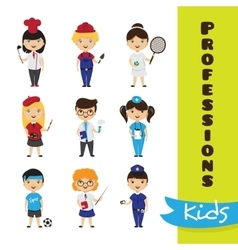 set of cute cartoon kids in different vector image vector image