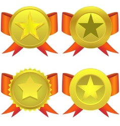 Star shaped medals vector