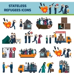 Stateless refugees icons vector