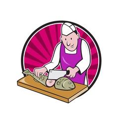 Sushi Chef Butcher Fishmonger Cartoon vector image