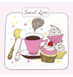 Sweet love background with tea vector image vector image