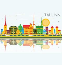 Tallinn skyline with color buildings blue sky and vector