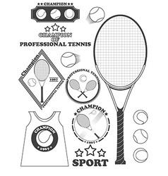 Tennis league labels emblems and design elements vector image