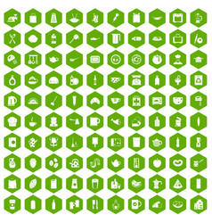 100 kitchen icons hexagon green vector