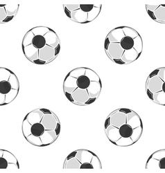 Soccer balls seamless pattern in black and white vector image