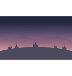 Beautiful hill at night landscape silhouette vector image