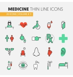 Hospital medical thin line icons set vector