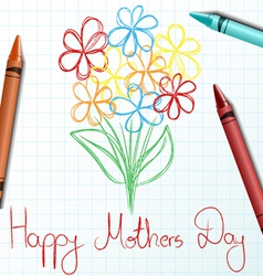 Children drawing for mothers day vector
