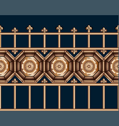 Seamless bronze vintage forged metal fence at vector