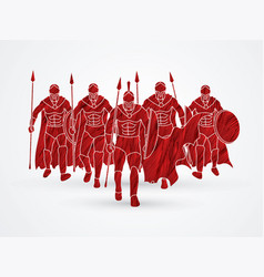 Group of spartan warrior walking with spears vector