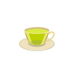 Cap of green tea on the caucer isolated vector