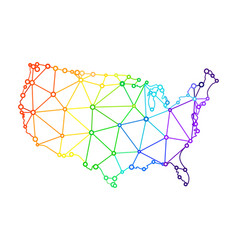 The lgbt flag in the form of a map of the united vector
