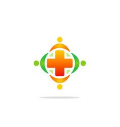 medicine cross hospital colored logo vector image