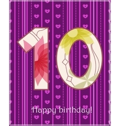 Happy birthday ten card vector image