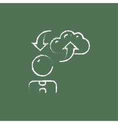 Cloud computing icon drawn in chalk vector