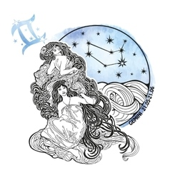 Gemini girls zodiac signhoroscope circle vector