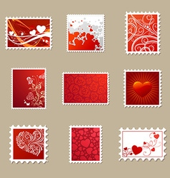 Set of valentines postage stamps vector