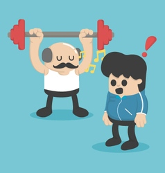 Cartoon concept exercise weight lifting vector