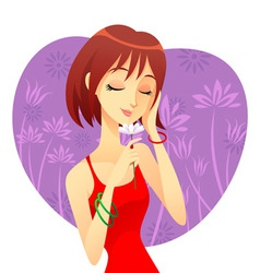 A girl with flower vector image