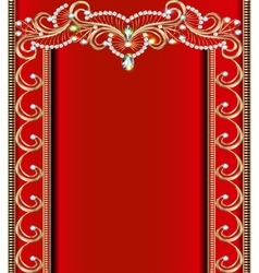 Background with golden ornaments with precious sto vector
